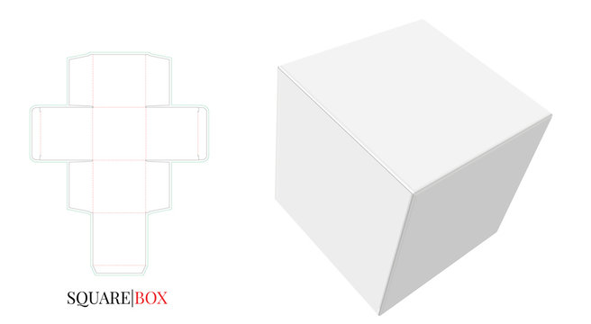 Square Box Template. Vector with die cut / laser cut layers. White, clear, blank, isolated Cube mock up on white background with perspective view. Packaging Design, 3D presentation