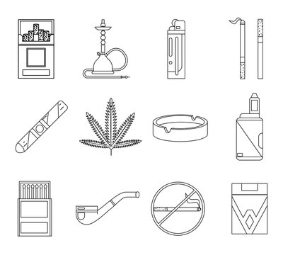 Lineart design smoking icons set cigarette pipe vape hookah matches ashtray isolated lineart design vector illustration