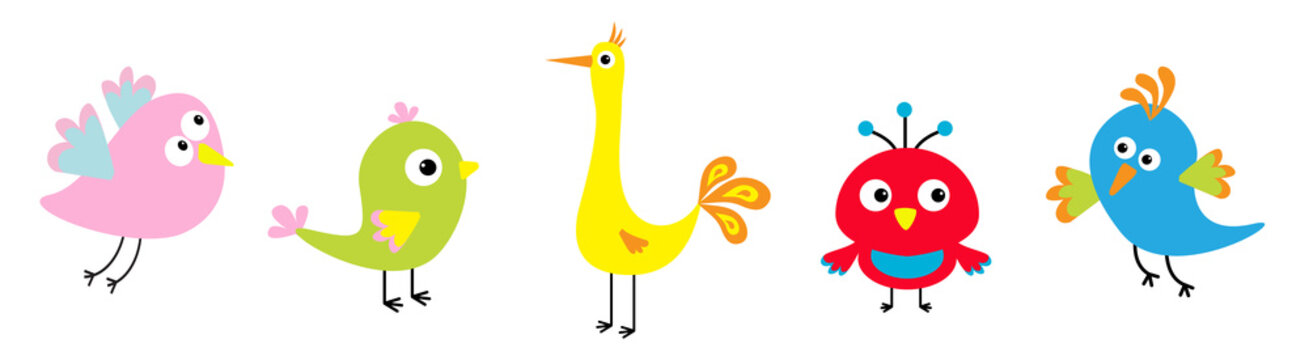Cartoon bird set line. Cute character. Funny collection for kids. Flat design. Baby illustration.
