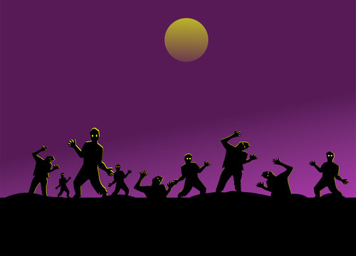 Group of silhouette zombies on black mountain have moon and purple sky background