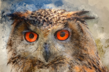 Watercolour painting of Superb close up of European Eagle Owl with bright orange eyes and excellent detail