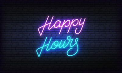 Happy hours neon banner vector template. Glowing night bright lettering sign for cafe, bar, restaurant advertisement.