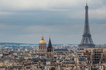 Foto op Canvas Wenen Top View of Paris with Eiffel tower from the Notre Dame de Paris, France