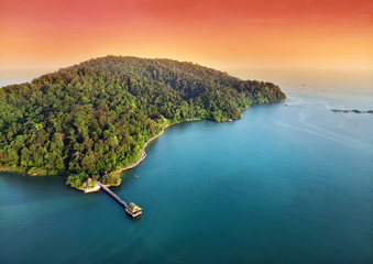 Wall Mural - Aerial sunset view of beautiful pulau pangkor in malaysia