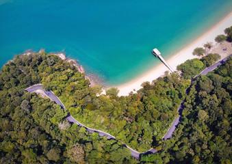 Wall Mural - Aerial view of beautiful beach in pulau pangkor, perak malaysia