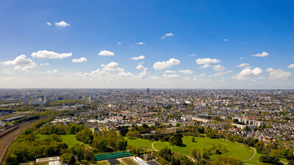 Aerial view of Nantes city skyline in Loire Atlantique, France