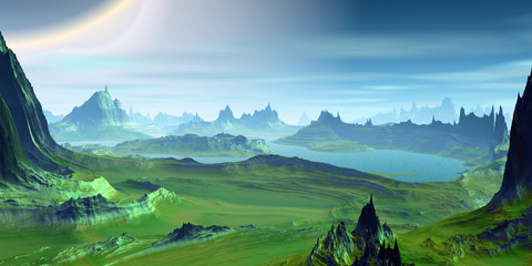 Alien Planet. Mountain and  sky. 3D rendering