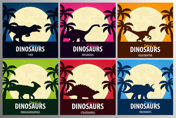 Banners collection World of dinosaurs. Prehistoric world. Jurassic period.