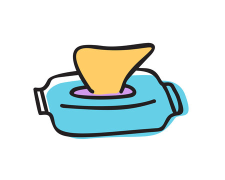Wet wipes in package box doodle vector icon