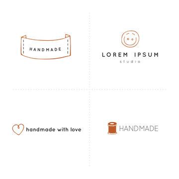 Premade vector logo templates. Hand drawn isolated elements, handmade theme.