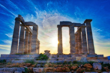 The Temple of Poseidon at Sounion, Greece, at sunset Fototapete