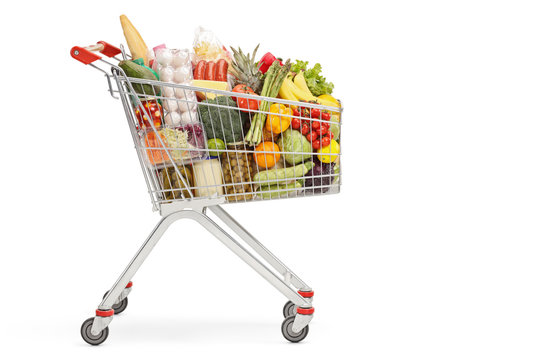 Shopping cart with food products