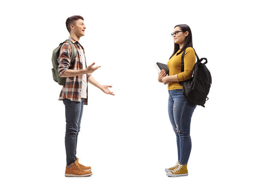 Male and female students talking
