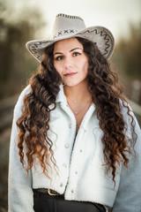 beautiful woman in cowgirl style