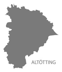 Altoetting grey county map of Bavaria Germany