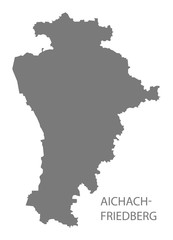 Aichach-Friedberg grey county map of Bavaria Germany