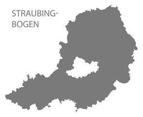 Straubing-Bogen grey county map of Bavaria Germany