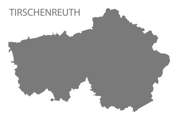 Tirschenreuth grey county map of Bavaria Germany