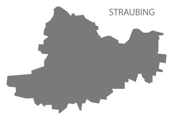 Straubing grey county map of Bavaria Germany