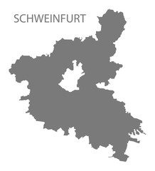 Schweinfurt grey county map of Bavaria Germany