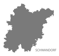 Schwandorf grey county map of Bavaria Germany