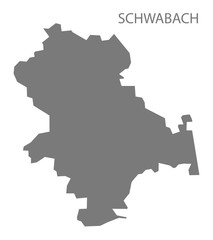Schwabach grey county map of Bavaria Germany