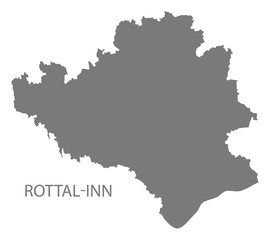 Rottal-Inn grey county map of Bavaria Germany