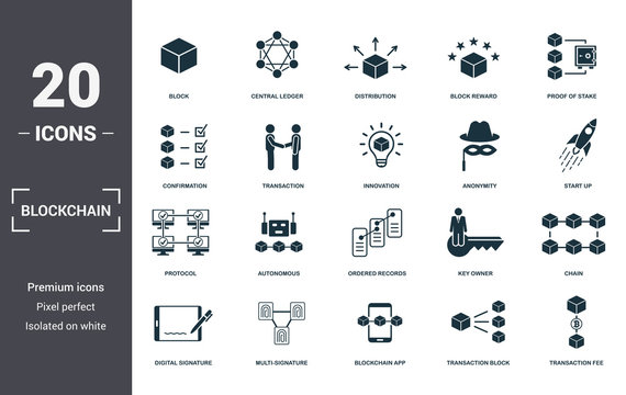 Blockchain set icons collection. Includes simple elements such as Block, Central Ledger, Distribution, Block Reward, Proof Of Stake, Autonomous and Ordered Records premium icons