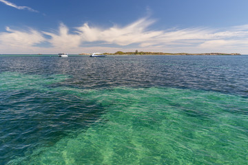Beautiful stretch of sea with clear water between Rockingham and Penguin Island, Western Australia