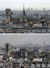 A combination picture shows a general view of Notre-Dame Cathedral before and after a fire devasted large parts of the gothic structure in Paris