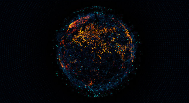 Global International Connectivity Background. Connection lines Around Earth Globe, Blockchain network concept. Futuristic Technology Theme Background with Light Effect.