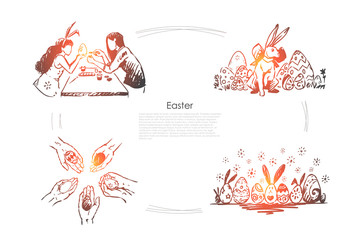 Girlfriends wearing bunny ears, eggs decorating, traditional festive hunt banner template