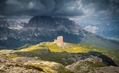 Cinque Torri. Dramatic rocky peaks, ridges and troughs of the Italian Dolomites during a passing storm