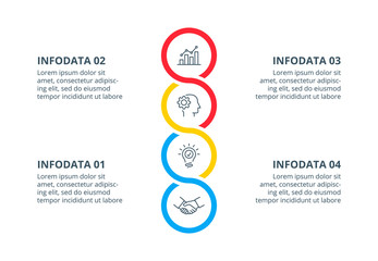 Vertical vector flat abstract element for infographic. Presentation slide 4 with options or steps.