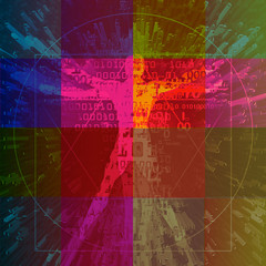 Vitruvian man with binary codes on colored squares background .  Futuristic expressive Illustration of vitruvian man with a binary codes symbolized digital age. Concept for science, new tecnologies.