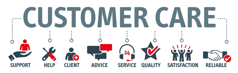 Banner Customer Care Vector Illustration