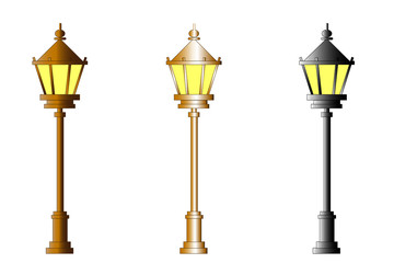 Cast-iron street lamp isolated on white background. Clipping path included.