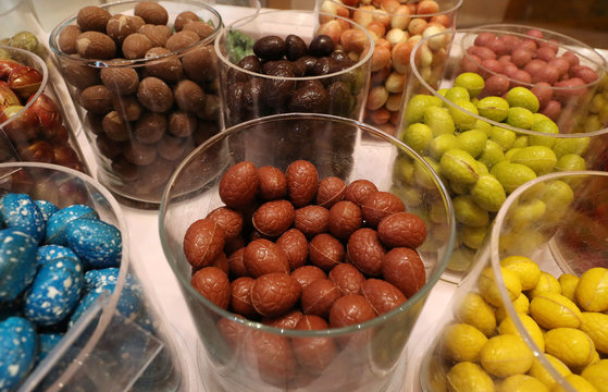 Chocolate eggs are seen at a Wittamer chocolate boutique ahead of the Easter weekend in Brussels