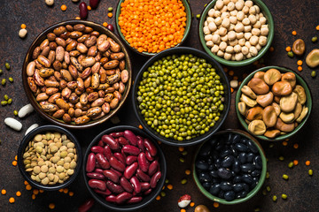 Legumes, lentils, chikpea and beans assortment. Wall mural