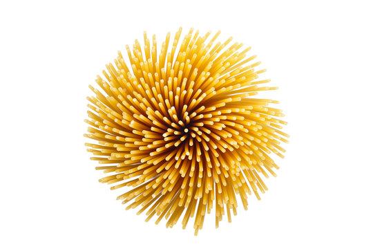 Spaghetti pasta isolated on white background.
