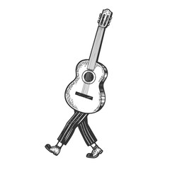 Acoustic guitar walks on its feet sketch engraving vector illustration. Scratch board style imitation. Black and white hand drawn image.