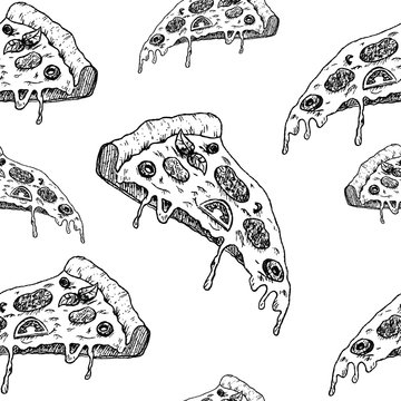 Pizza seamless sketch pattern. Hand drawn black slices of pizza on white background. Wallpaper pattern.