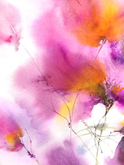 Abstract floral background. Wtercolor flowers painting. Floral wall paper.