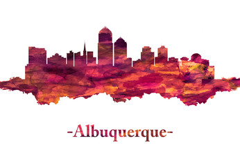 Wall Mural - Albuquerque New Mexico Skyline in Red