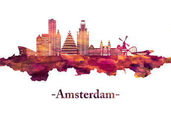 Wall Mural - Amsterdam Netherlands Skyline in Red