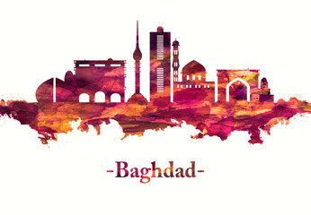 Fototapete - Baghdad Iraq skyline in Red