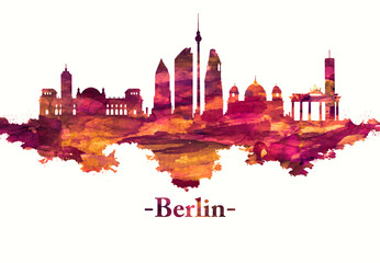 Fototapete - Berlin Germany skyline in Red