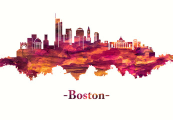 Fototapete - Boston Massachusetts skyline in Red