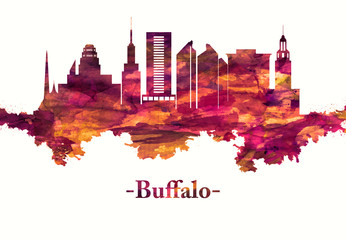 Fototapete - Buffalo New York skyline in Red