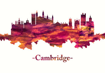 Wall Mural - Cambridge England Skyline in red